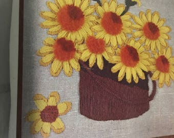 "CREWEL Family Circle Sunshine Basket Sunflowers Linen Kit  14"" x 14""  Vintage 1970s Embroidery Picture or Pillow top"