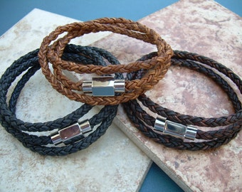 Mens Triple Wrap Braided Leather Bracelet with Stainless Steel Magnetic Clasp, Mens Jewelry, Mens Bracelet, Leather Bracelet, Fathers Day