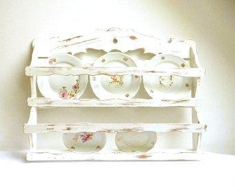 Vintage Plate Rack Wall Holder Tea Cup Shelf Storage Kitchen Organizer Wood Hanging White Painted Distressed  sc 1 st  Etsy & Plate rack shabby   Etsy