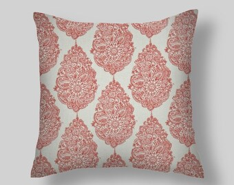 Coral Pillow, Coral Throw Pillow, Pillow Cover, Floral Pillow, white / coral Pillow, Floral . Euro Sham Farmhouse. Cushion. ALL Sizes
