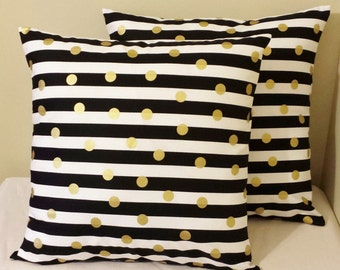 2 pillow covers shams gold polka dots Black white striped geometric design sofa throw couch bed 16x16 16 x 16