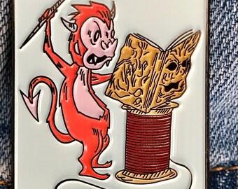 Demon Monkey Craft Logo Monkey Reading The Book of the Dead Enamel Pin