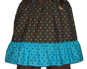 Pillowcase Dress & Pants Set Brown and Teal Polka Dots Boutique 12/18M 24M/2T 3T/4T 5/6 Pageant New