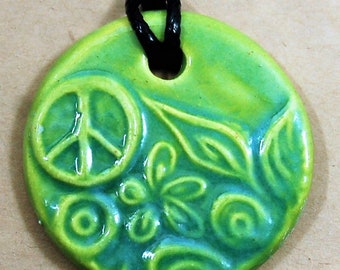 Handmade Ceramic Pendant with a Light Green Peace Sign - Peace Mama's Gift - Yoga Jewelry - Wedding Jewelry - Aromatherapy Diffuser