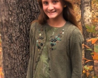 Upcycled olive green sweater