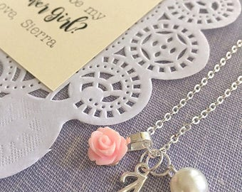 Flower Girl jewelry, script initial, flower girl necklace, rose necklace, rose jewelry, initial, personalized, FREE card and organza bag.