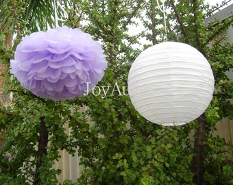 Lilac Pom Poms & White Paper Lanterns for Wedding Engagement Anniversary Birthday Party Bridal Baby Shower Decoration