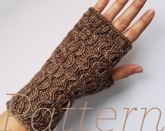 Knit Fingerless Gloves Pattern // Scallop Cable Mitts – Pattern Only – PDF Download