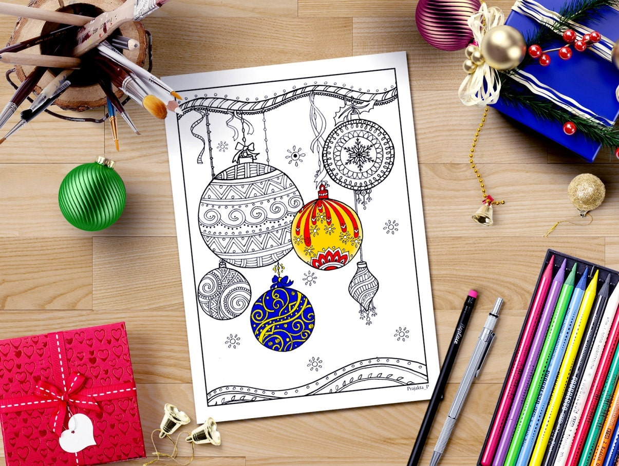 Christmas Ornaments Coloring Page Downloadable Xmas