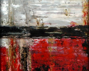 Original Textured fluid acrylic Knife Painting Contemporary Artwork industrial grunge UNDERNEATH by holly anderson