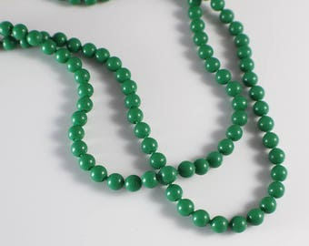 1960s Long Small Round Smooth Popper Beads Dark Green Beaded Plastic Bead Necklace