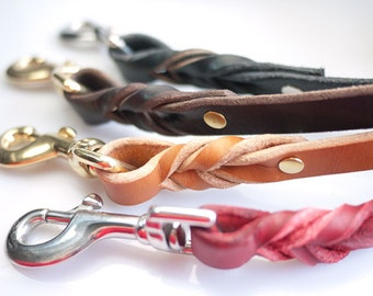 Leather Dog Leash 2ft 3ft Custom Length - Braided Leather Leash - 3 Colors - Strong Leather Leash - Black Leather Dog Leash - Brown Tan Lead