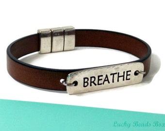 Bracelet cuir bracelet hommes bracelet message bracelet cuir brun bracelet cuir femmes bracelet breathe fermoir magnétique FLB10-06-07