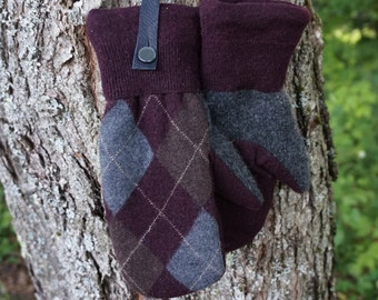 Maroon and Gray Argyle Sweater Mittens