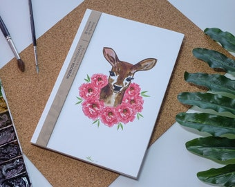 Cerf aquarelle carnet de notes à la main, couverture rigide journal, Illustration, carnet, carnet de croquis, journal intime, cadeau, 21 × 14.8