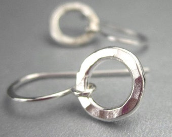 Tiny Hoop Earrings in Sterling Silver, Petite Circle Hammered Silver