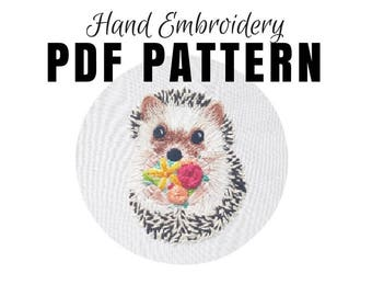 Digital Hand Embroidery Pattern: Hedgehog - Thread Painting Design - Digital Download PDF - Modern Embroidery - DIY Embroidery Hoop Art
