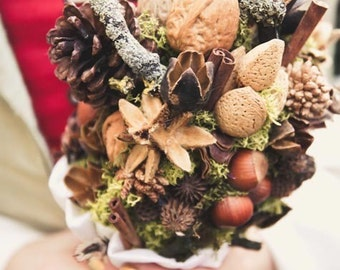 Wedding autumn bouquet - woodland, forest, elfic bouquet - pine and nuts - fall bride