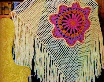 Medallion Shawl Vintage Crochet Pattern Instant Download