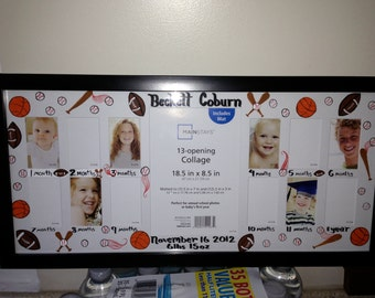 First year frame babys first year price for birds babys first year frame a picture a month sports theme personalized with babys negle Choice Image