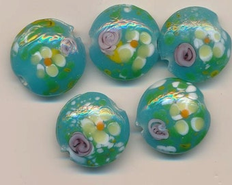 Ten beautiful lampwork glass lentils - aqua seafoam background with flowers and white spatters - 18.5 mm