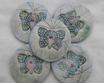 Handmade White Butterfly Tile Set Hand Painted