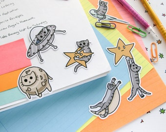 Cute Cat Stickers, Paper Stickers, Journaling, Sticker Flakes, Cute Cats, Funny, Humor, Silly, Stationery, Scrapbooking, Outer Space II