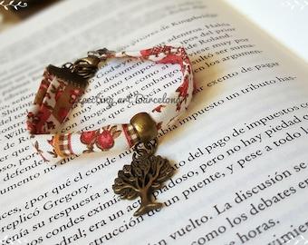 Life Tree fabric bracelet. Cotton bracelet.