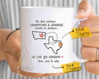 mothers day for grandma personalized, grandma birthday, grandma state mug, grandma distance, long distance gift, distance quote mug MU631