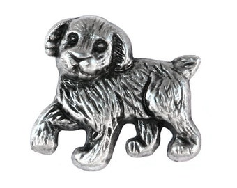 2 Pooch 1 inch ( 25 mm  ) Puppy Dog Metal Buttons Antique Silver Color