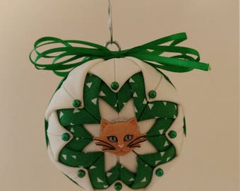 Green & White folded fabric handmade ornament with tan cat decoration