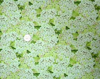 Springs Creative - Rose Divine Hydrangeas - 16041 - Cream, Pale Pink and Pale Green Hydrangeas Allover - One Yard of Fabric