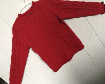 Inis Crafts pullover sweater, rolled neck merino wool sweater, deep red sweater, cableknit sweater, fisherman sweater, ladies small. Ireland