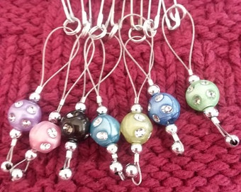 Beaded Stitch Markers with Crystals
