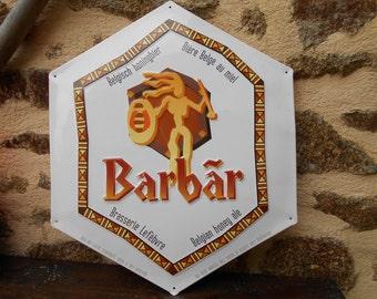 Vintage French Metal Beer Sign - Barbar Biere