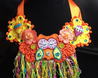 Crochet Girl's Hot Air Baloons & Owl Necklace