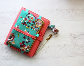 Bold floral planner accessories - floral planner - pencil case - pen holder - planner cover band - gifts for mom - floral zippered bag