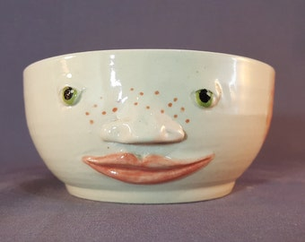 Handmade Ceramic Serving Bowl, Serving Bowl with Face, Novelty Serving Bowl, Handmade Pottery Bowl with Face