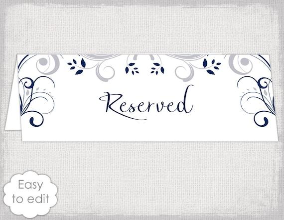 wedding reserved sign card template scroll. Black Bedroom Furniture Sets. Home Design Ideas