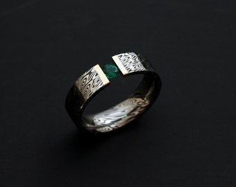Genuine Stainless Damascus Steel with 18K Yellow Gold and Stone Ring PD97
