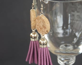 Tassel Wine Cork Earrings