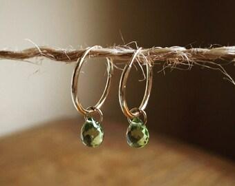 Peridot Earrings Peridot August Birthstone Earrings Gold Hoop Earrings 14K Gold Hoops Peridot Gemstone Jewelry Womens Gift for Her 14K Hoops
