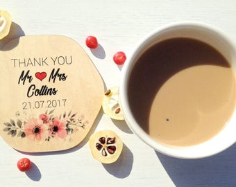 Set of Personalized Coasters, Personalized Wedding Gift, Wooden Coasters, Custom Coasters, Wedding Gifts for Couple, Drink Coasters