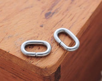 20 oval stainless steel rings, 8 x 5 x 1.2 mm silver matte