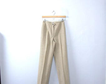 Vintage 80's plaid wool pants, wool trousers, gingham plaid, size 6 / 4