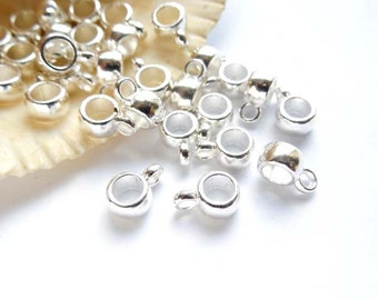 10 Silver Plated Bails With Loop - 16-SB-2