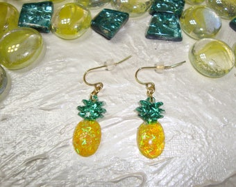 Pineapple Earrings! Stainless Steel Hooks! Yellow and Teal! Great for Spring Summer Picnics, vacations, Hawaiian Luau,  Just for Fun! Fruit!