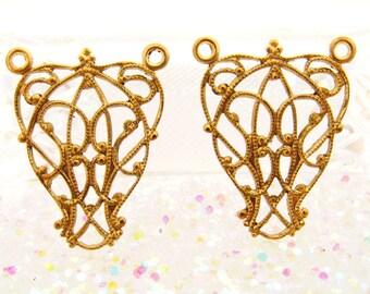 Ornate Art Nouveau Raw Brass Filigree Wrap Three Ring Connector Dangle Drop - 4