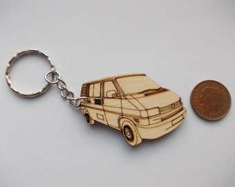 T4 Campervan Keyring Etched detail wooden