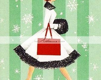 Instant Art Printable Download - Art Deco Vintage Christmas Card Image - Paper Crafts Altered Art Scrapbook - Vintage Christmas Retro Art